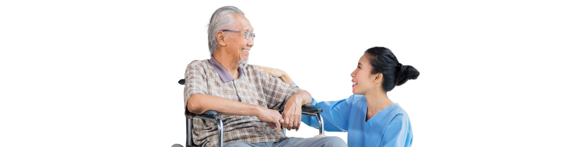 senior man and caregiver talking